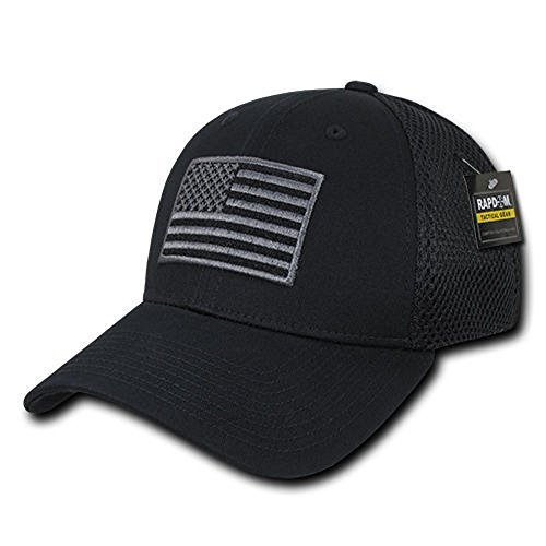 USA US American Flag Tactical Operator Mesh Flex Baseball Fit Hat Cap - Black