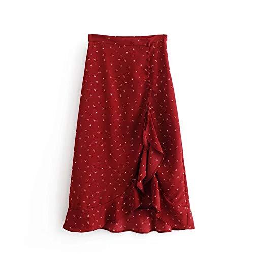 (New Women's Fashion Little Hearts Print Flounce Asymmetrical Midi Skirt Red Wholesale,As Photo,S)