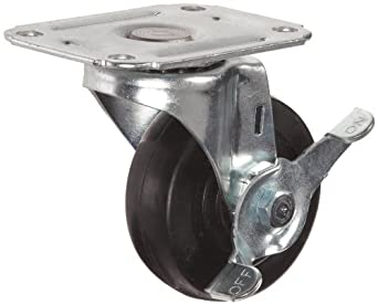 E.R. Wagner Plate Caster, Swivel with Pinch Brake, Soft Rubber Wheel