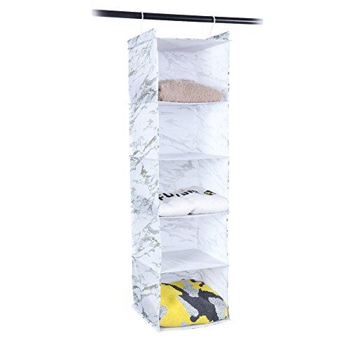 MustQ Hanging Closet Organizer, Space Saver, Marbling Printing,White (5-Shelf)