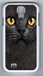 Big Face Black Cat Polycarbonate Hard Case Cover for Samsung Galaxy S4/Samsung Galaxy I9500 White