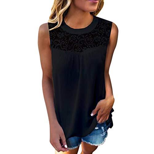 SOWU Women Fresh Tank Tops Ladies Lace Style Crop Splice Crewneck Simple Style Pure Color T-Shirt Blouses Tops Black