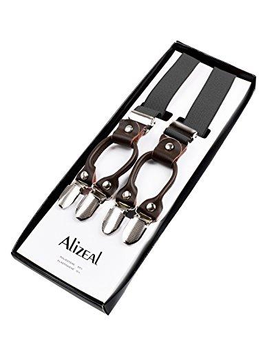 En Elastique Alizeal Cuir kaki Homme 5cm Clips 6 Véritable Bretelles 2 Largeur FwqErnqp5x