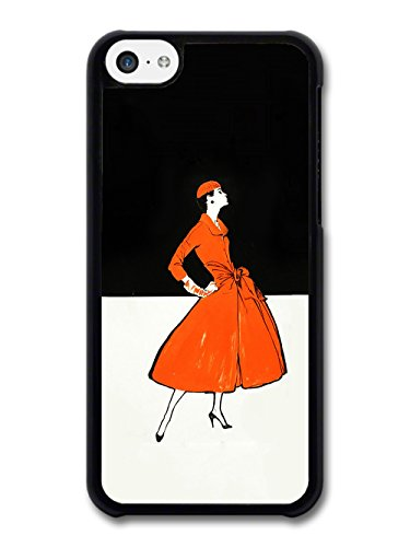 Art Deco Fashion Woman in Orange Dress Black and White Background coque pour iPhone 5C