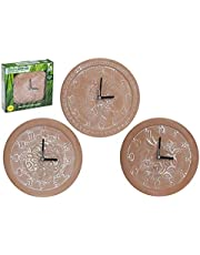 Terracotta Outdoor Garden Clock 25cm Diameter Rustic Beautiful Nature Designs