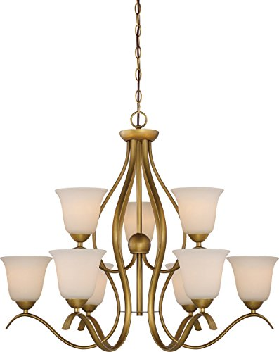 Nuvo Lighting 60/5819 Dillard 9 Light 100W A19 max. Medium Base 2 Tier Chandelier with White Glass, Natural Brass