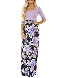 Dunea Women S Maxi Dress Floral Printed Autumn 3 4 Sleeve Casual Tunic Long Maxi Dress Purple