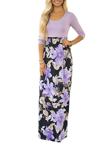 DUNEA Women's Maxi Dress Floral Printed Autumn 3/4 Sleeve Casual Tunic Long Maxi Dress Purple - Stretch Dress Denim Knit