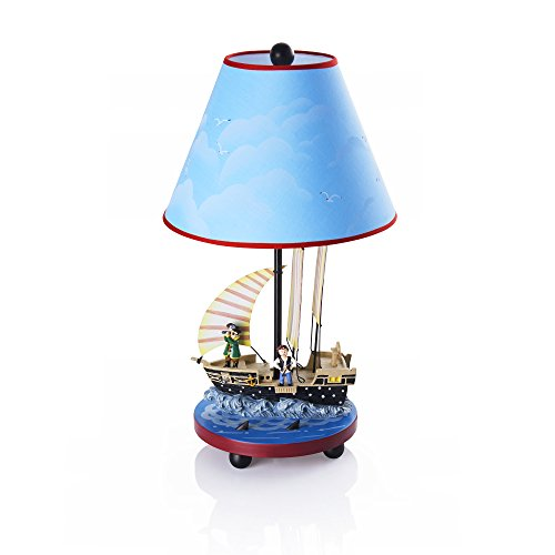 (Guidecraft Hand-Painted & Hand Crafted Pirate Table Lamp for Kids Room)