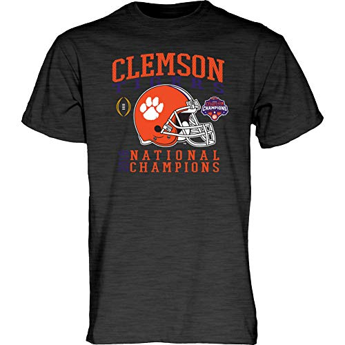 Elite Fan Shop Clemson Tigers National Champs Tshirt 2018-2019 Charcoal Helmet - Large
