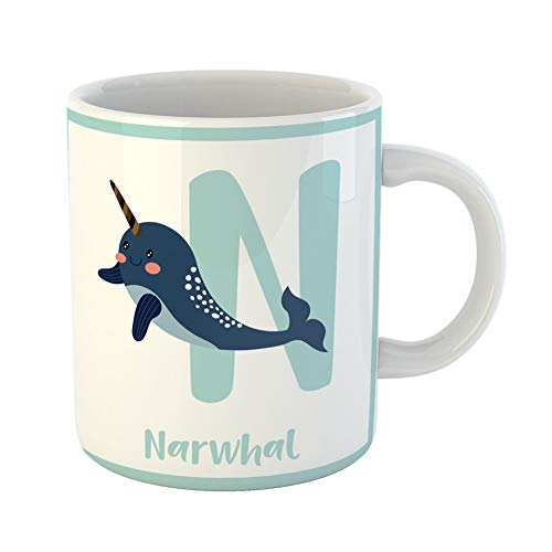 Emvency Coffee Tea Mug Gift 11 Ounces Funny Ceramic Cute Children Abc Animal Alphabet N Letter Flashcard of Dark Blue Narwhal Gifts For Family Friends Coworkers Boss Mug ()