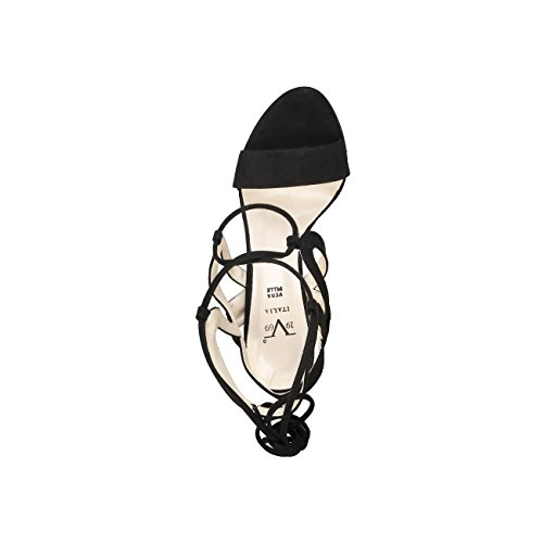 V 1969 - ROSALIE_NERO Sandalias De Vestir De Encaje Para Mujer Tacón 11.5 cm, Meseta 1 cm