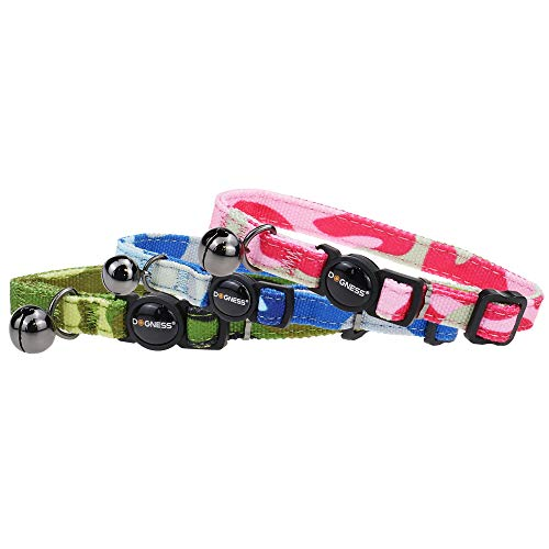 DOGNESS Camo Cat Collar - 3 Pieces - Color Blue, Pink, Green - Size L