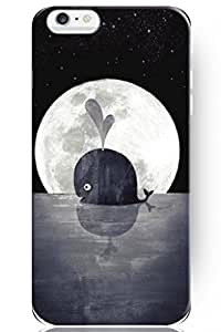 DAOJIE Generic New Classic Charming Design Personalized Hard Plastic Snap on Slim Fit Shark under Clear Bright Full Moon 4.7 Inch Iphone 6 Case Ocean View