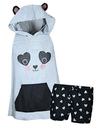 dELiA*s Girl\'s Summer Pajama Short Set with Animal Character Hood (Grey Panda, 5-6)']()
