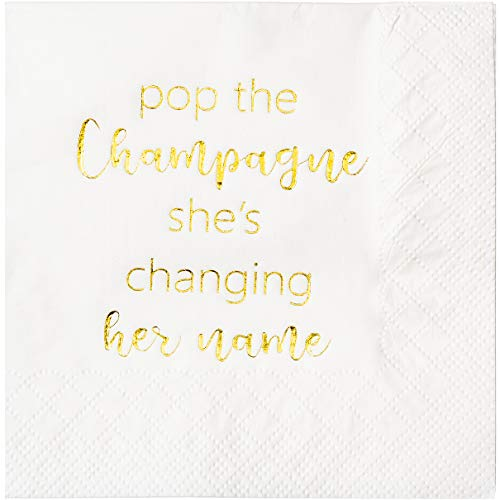 (Crisky Bachelorette Cocktail Napkins Bridal Shower Dessert Napkins Gold Foil Bachelorette Bridal Shower Engagement Party Decoration Party Supplies [ 50 Count ])