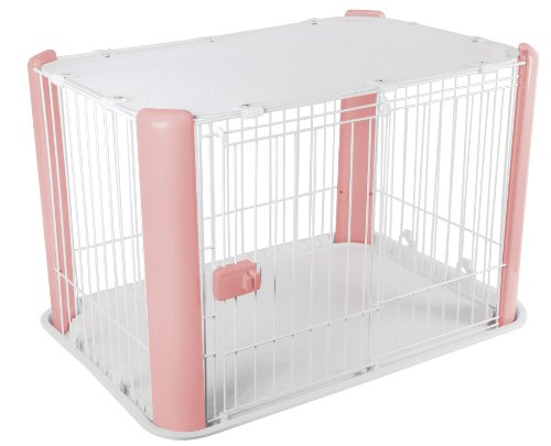 IRIS Small Wire Dog Crate with Mesh Roof, Pink