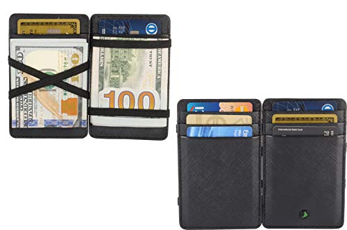 RFID Blocking Magic Leather Wallet Card Case Sleek Minimalist Leather Wallet ()