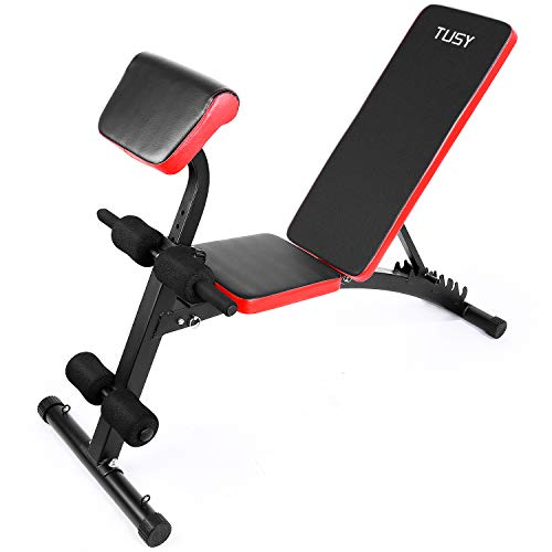 TUSY Adjustable Weight Bench for Full Body Workout Multi-Purpose Utility Weight Bench Foldable Flat Bench Press for Home and Gym