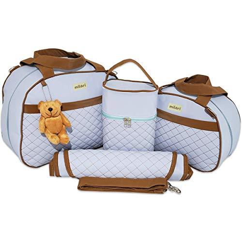 Kit de Bolsas Maternidade Bordado Matelassê Detalhe Marrom Térmico Impermeável Cor: Azul Bebê