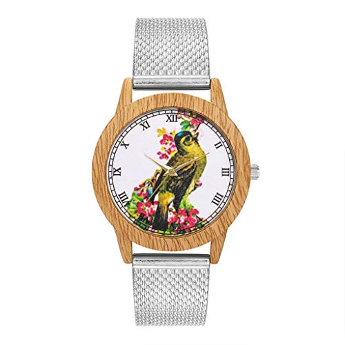 Fashion Nature Wooden Grain Leisure Bird Dial Silicone Strap Quartz Watch Watches for Women Simple Under 5 ❤ Best Gifts for Lovers