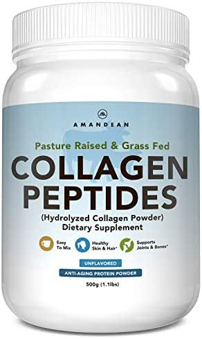 AMANDEAN Premium Collagen Peptides Powder (17.6oz) | Grass-Fed | Keto Friendly | Unflavored, Odorless, Cold Water Soluble | Hydrolyzed Gelatin Protein | Promotes Healthy Joints, Skin, Hair, Nails