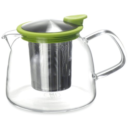 Forlife Bell Glass Teapot with Basket Infuser, 24-Ounce/730ml, Lime