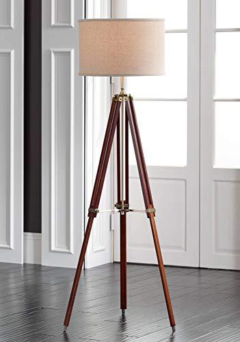 Surveyor Modern Tripod Floor Lamp Cherry Wood Beige Linen Drum Shade for Living Room Reading Bedroom Office - Possini Euro Design