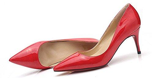 heel Femme Pointu Escarpins Bout Mode Kitten Rouge Aisun Printemps vHtxCqwqB