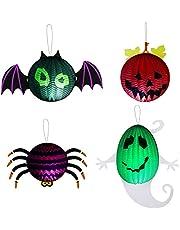 Halloween lykta med LED-värmeljus MOPOIN 4 stycken halloween lampions papperslykta dekoration, vikbar lampskärm lampampor, bikakebollar lykta halloween vindljus för halloween fest dekoration