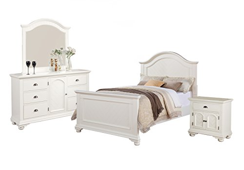 (Abbey Avenue B-LEA-F4PW 4 Piece Leah Panel Bedroom Set, Full, White)