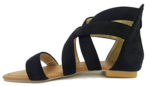 Eclair Roman Couleur Noir Sandales Fermeture Aisun Unie Mode Femme YwqEXH