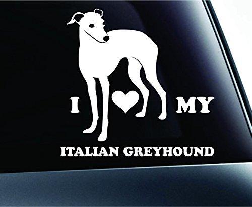 I Love My Italian Greyhound Dog Symbol Decal Paw Print Dog Puppy Pet Family Breed Love Car Truck Sticker Window (White), Decal Sticker Vinyl Car Home Truck Window Laptop
