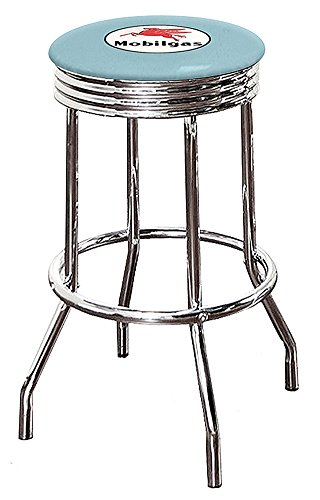 """1-29"""" Tall Chrome Finish Retro/Soda Fountain Style Swivel Seat Bar Stool Featuring Your Favorite Vintage Gas Themed Logo on a Colored Vinyl Seat Cushion (Mobil Gas - Baby Blue Vinyl)"""