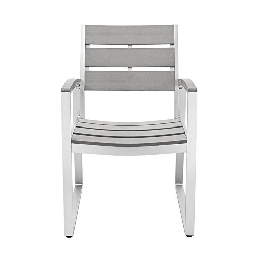 WE Furniture All-Weather Patio Dining Chairs (Set of 2), Grey