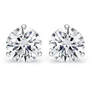 3/4 Carat Total Weight White GIA Certified Round Diamond Solitaire Stud Earrings Pair set in 18K White Gold 3 Prong Push Back (D-E Color SI1-SI2 Clarity)