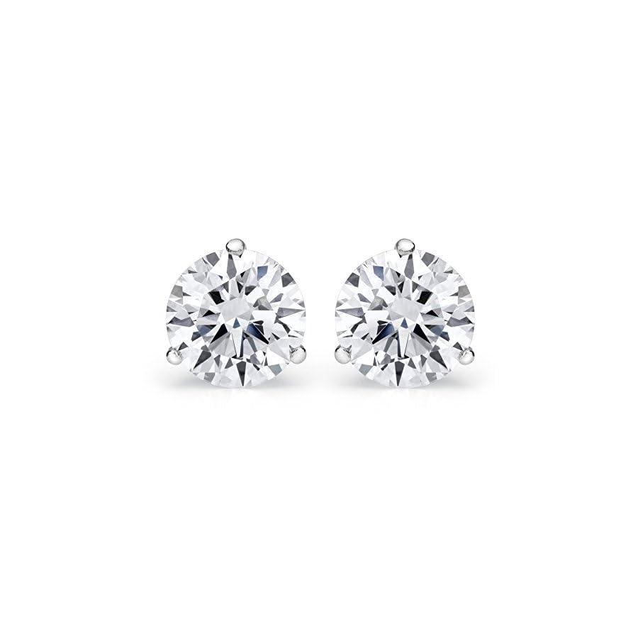 1/4 2 Carat GIA Certified Round Diamond Stud Earrings 3 Prong Push Back (I J Color VS1 VS2 Clarity)