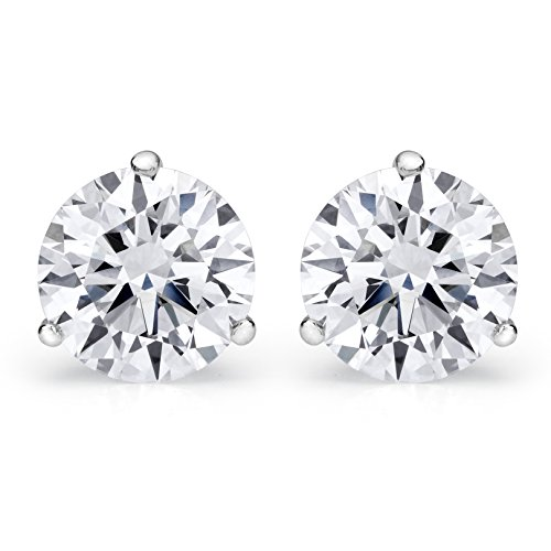 2 Carat GIA Certified Round Diamond Stud Earrings Platinum 3 Prong Push Back D-E VS1-VS2