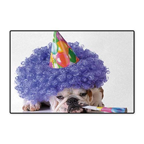 Kids Birthday,Bath Mat,Boxer Dog Animal with Purple Wig with Colorful Party Cone Funny Photo Print,Door Mats for Home,Multicolor 16