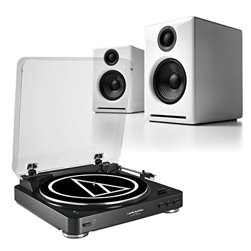 AudioTechnica ATLP60 Stereo Turntable w/ Audioengine A2+ Whi