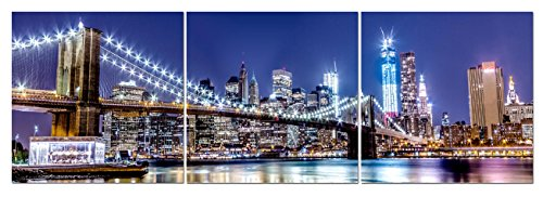 Art Nyc (Canvas Wall Art Decor - 24x24 3 Piece Set (Total 24x72 inch) - NYC Brooklyn Bridge At Night - Large Decorative & Modern Multi Panel Split Prints for Dining & Living Room, Kitchen, Bedroom & Office)