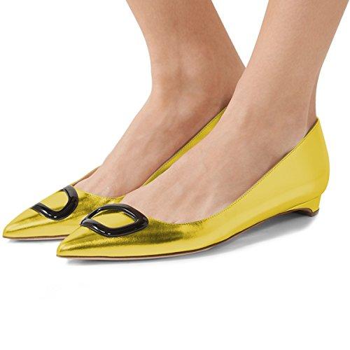 Fsj Vrouwen Casual Slip Op Platte Schoenen Balletschoenen Puntige Toe Pumps Voor Comfortabel Lopen Maat 4-15 Us Geel