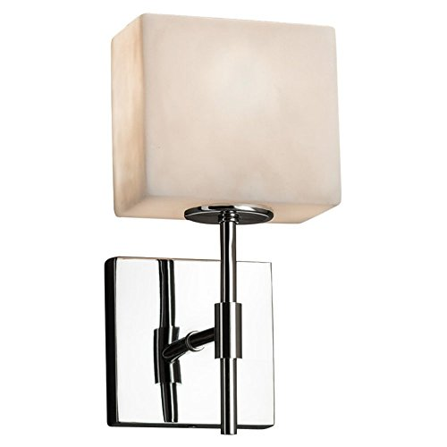 Justice Design Group Lighting CLD-8417-55-CROM Justice Design Group - Clouds - Union 1-Light Wall Sconce - Rectangle - Polished Chrome Finish with Clouds Shade,