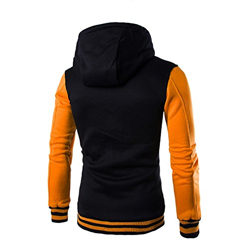 Hooded Sweatshirt Men Long Yellow Hoodie Button HARRYSTORE Sleeve Slim Hooded Jacket Retro Outerwear zwBUaq