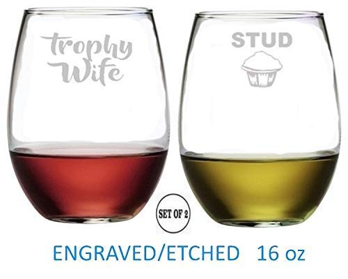 Trophy Wife Stud Muffin Stemless Wine Glasses Etched Engraved Perfect Fun Handmade Gifts for Everyone Set of 2