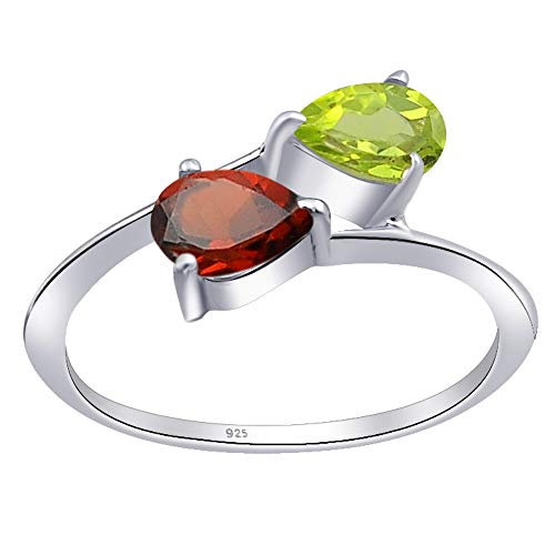 1 Ct Red Pear Garnet And Peridot 925 Sterling Silver Ring For Women: Nickel Free Beautiful And Stylish Genuine Wedding Gift For Wife: Ring Size-8 (Pear Peridot Ring)