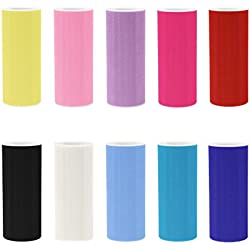[ 6' x 25yd ] Pack of 10 Assorted Color Matte Tulle Rolls for party and craft (Assorted , 10 Matte Tull Rolls)