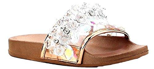 Cape Robbin Moira-63 Rhinestone Crystal Chandelier Slides Flip Flop Sandal Rose Gold 6