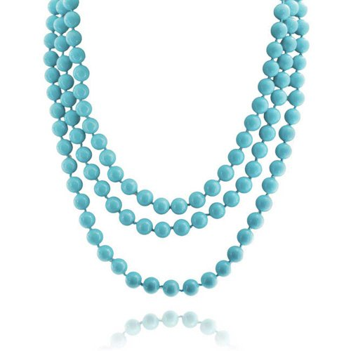 Bling Jewelry Blue Endless Layering Long Strand Boho Fashion Compressed Turquoise Beads Necklace for Women for Teen 69 Inch