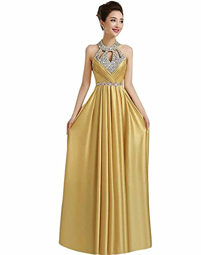 Manfei 2017 New Beaded O Neck Long Formal Evening Prom Dress Open Back Gold Size 4
